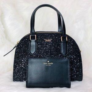 Kate Spade Mini Reiley Glitter Satchel Wallet Set
